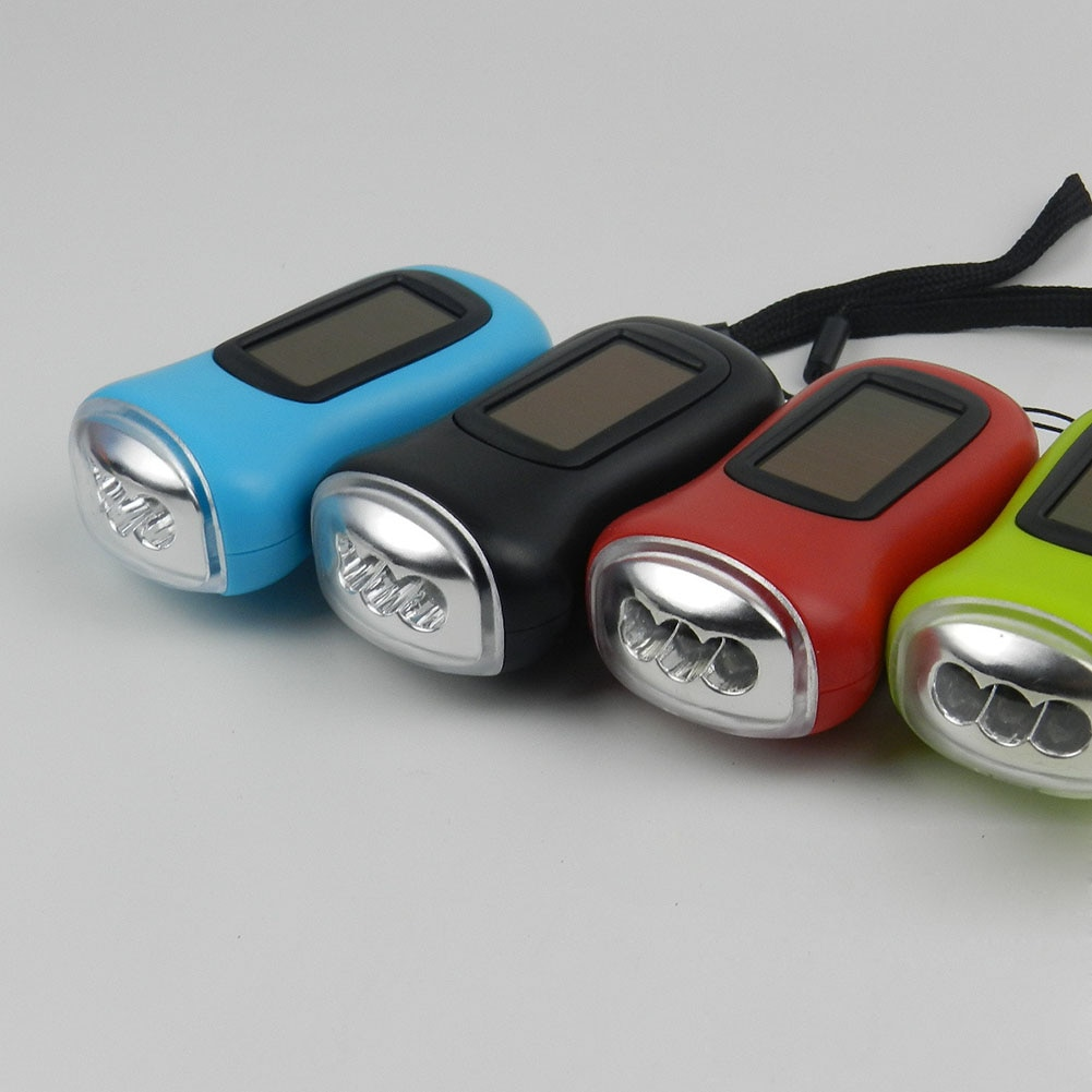 Mini LED Hand Crank Dynamo Solar Power Rechargeable Carabiner Camping Flashlight MAL999