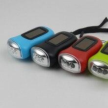 Mini led manivela dínamo energia solar recarregável mosquetão lanterna de acampamento mal999