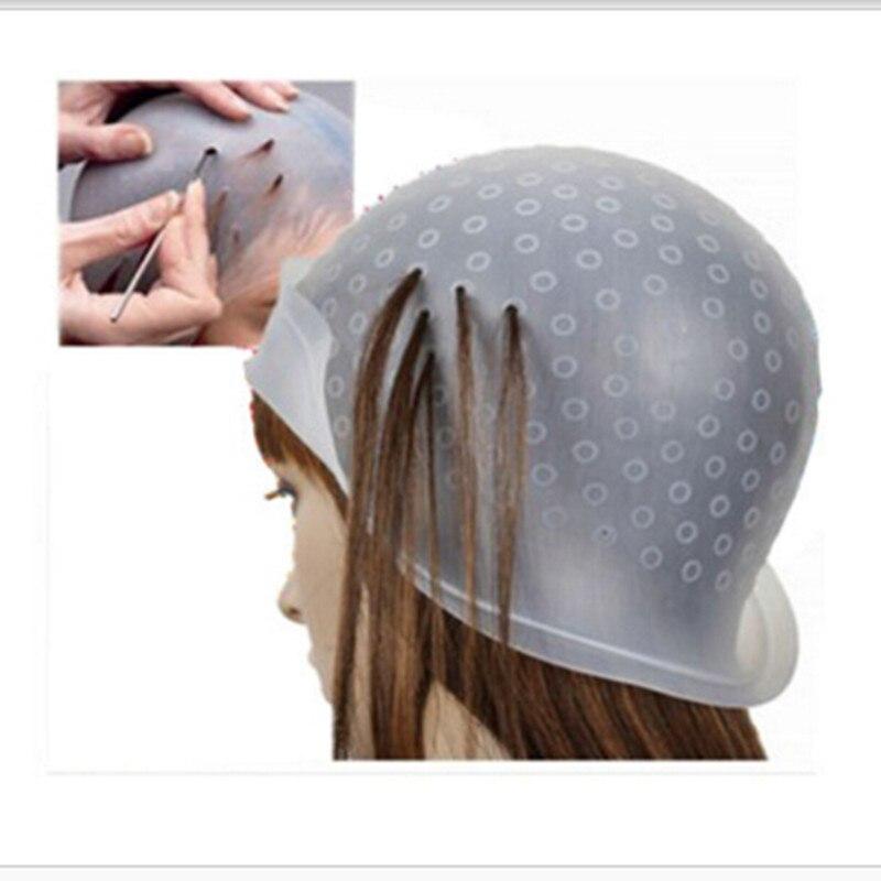 Chapeau de coloration de cheveux réutilisable mettant en évidence le glaçage blanc de chapeau de colorant avec des crochets inclinant des outils de coiffure de couleur