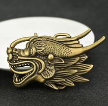 Chinese Dragon Head Men's Brass Belt Dragon Head Statue Buckle Belt Clip Lucky Animal Statue