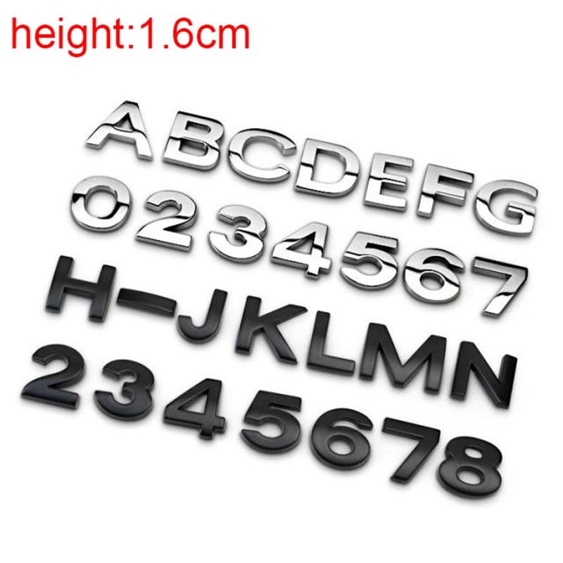 16mm Top Quality Chrome Metal Zinc DIY ABC 123 Letters Numbers Car Styling Refitting Emblem Sticker Telephone Digital Alphabet