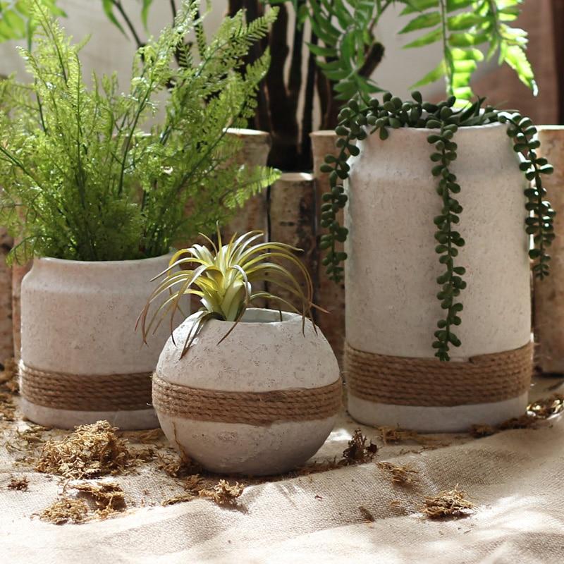 Nordic Planter Pot Hennep Touw Gewikkeld Ovale Vorm Cement Pot Multifunctionele Sleutel Lade Grote Bloempot Europa Cement bloempot