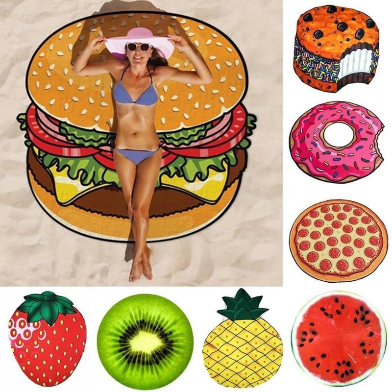 Piña donut Pizza fruta tapiz Picnic Mat playa manta hogar pared manta artística Picnic decoración para verano suministros para playa