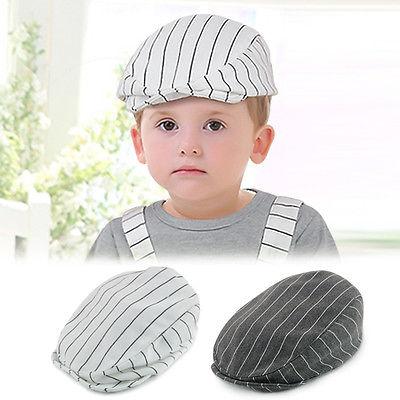 Pudcoco 2017 Retro Kids Baby Boy Infant Toddler Beret Cap Peaked Cotton Stripe Casquette  Hat