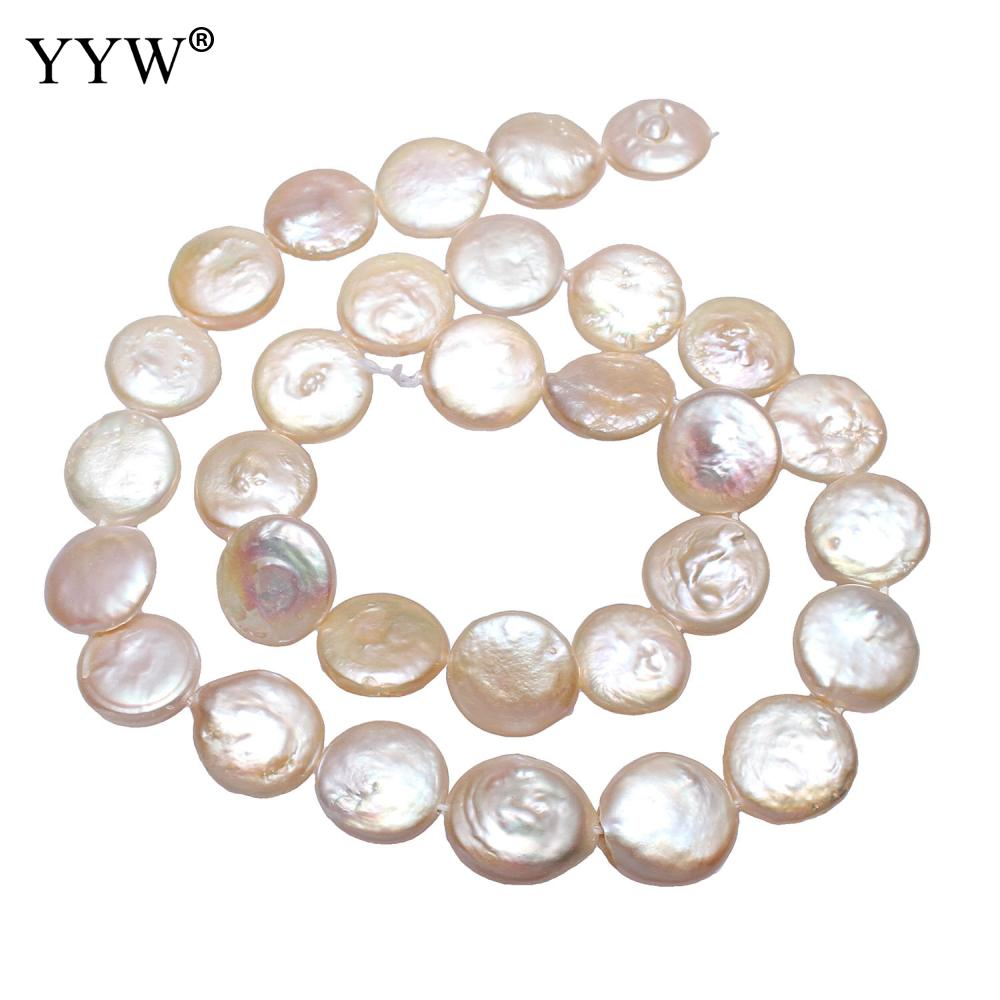 Monedas cultivadas Cuentas de Perlas de agua dulce plana redonda blanca natural 12-13mm vendidas por aproximadamente 15 pulgadas tira de perlas