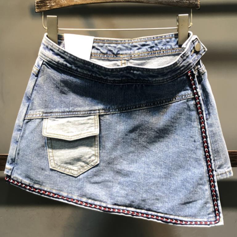 Pantalones cortos de mezclilla para mujer 2020 novedad de verano a la moda cintura alta personalidad bolsillos paquete cadera jeans pantalones cortos falda