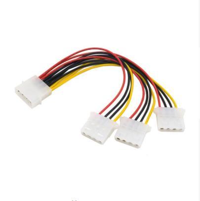 Cable PC de escritorio IDE de 4 pines 4P Molex, 1 hembra a 3 macho, Cable de alimentación, Cable 18AWG para dispositivo óptico de disco duro
