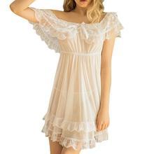 Miarhb 여성 잠옷 nightdress 짧은 소매 레이스 새틴 빈티지 pijamas nightwear 여성 숙녀 잠옷 울트라 얇은 빛