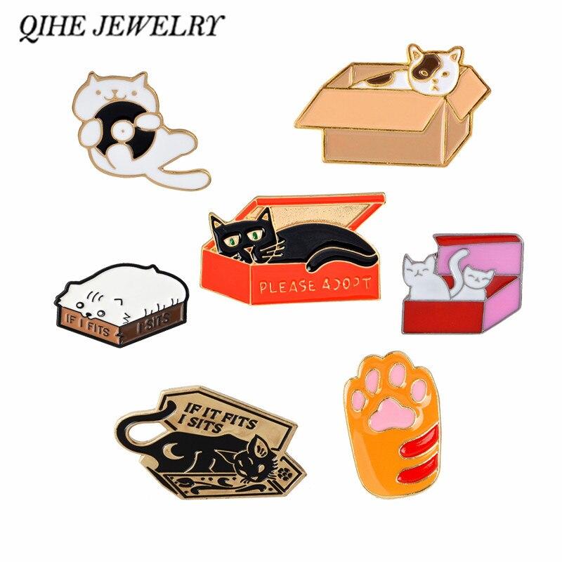 QIHE украшения для кошек в коробке, коллекция булавок, лапы, кошки, броши с отворотом для кошек, значки с котенком для женщин и девочек, украшения для животных