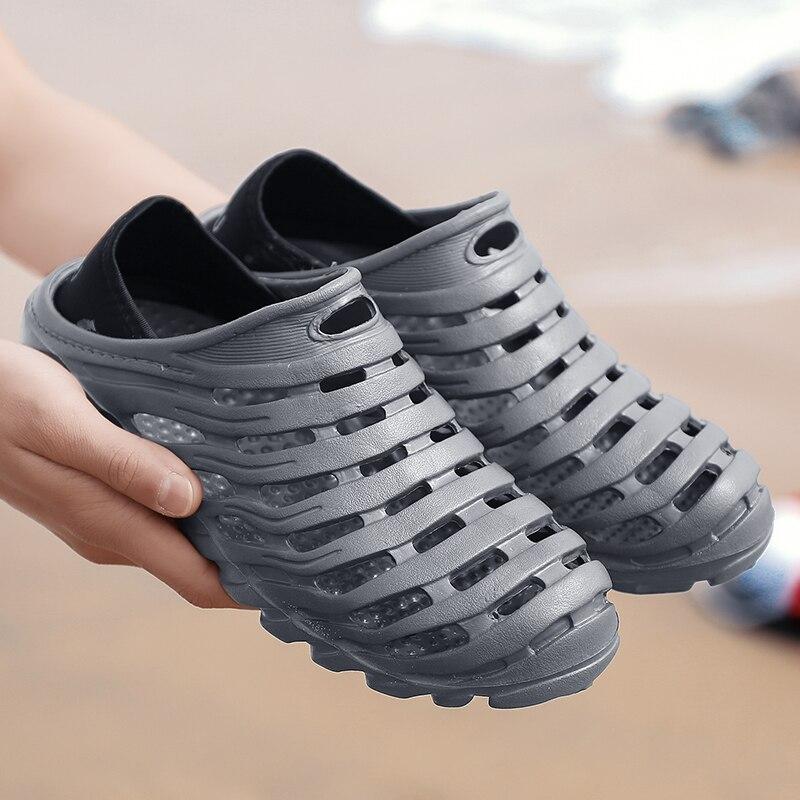 Zapatos con agujeros para hombre, zapatos para hombre, Sandalias cruzadas, Sandalias de verano, zapatillas de arena, Sandalias para hombre, Sandali, zapatos de cocodrilo, novedad 2019