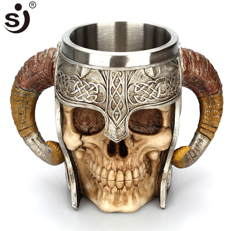 SJ-كوب بيرة مزدوج من الفولاذ المقاوم للصدأ على شكل جمجمة ، كوب قهوة ، كوب شاي ، فارس ، شريط هالوين ، أدوات الشرب ، هدية