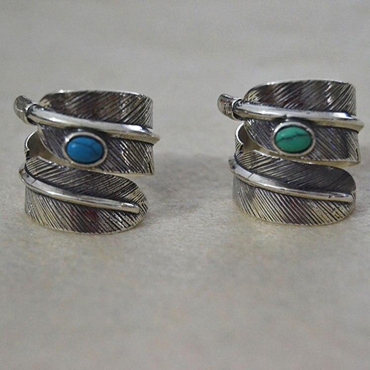 Takahashi Goro hecho a mano plata de ley con incrustaciones azul turquesa pluma Retro tailandesa plata estilo indio accesorios anillo de pareja