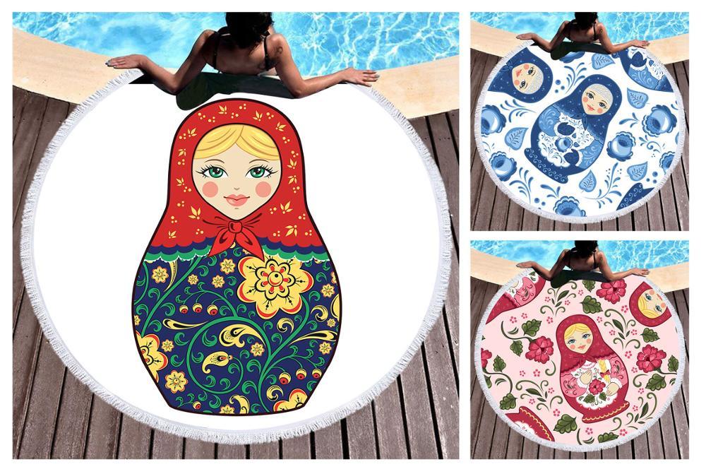 Regalo novedoso muñeca rusa Matryoshka muñecas flor patrón grande redonda Spa surf baño playa toalla manta envío gratis