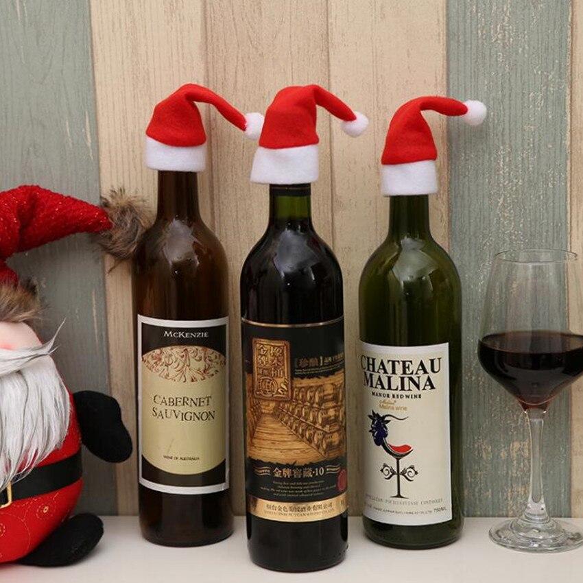 100pcs/Set Santa Claus Hat Red Wine Soft Christmas Bottle Cover For Christmas Home Decoration Wine Bottle Sets  40%off
