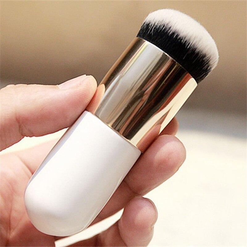 1 Uds nuevo cepillo Chubby Pier Foundation brochas de maquillaje de crema plana brocha de maquillaje portátil cosmética profesional BB crema plana gratis