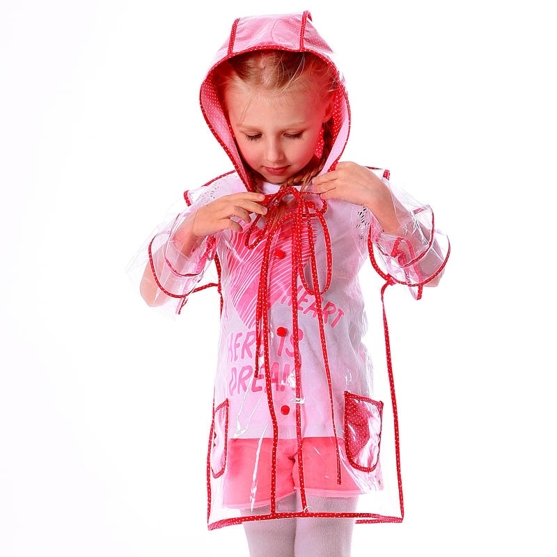 Yuding Transparent Raincoat Clear Plastic Rainwear Outdoor Touring Children Boy Girl Baby Toddler Rain Coat with Hood