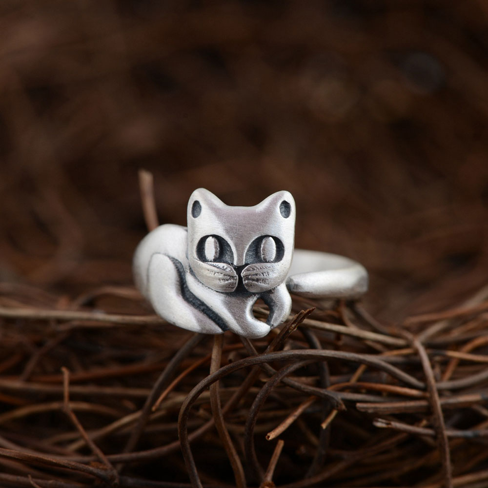 925 пробы Серебряное кольцо с котом 100% Настоящее S925 тайское Серебряное кольцо для женщин ювелирные изделия регулируемый размер