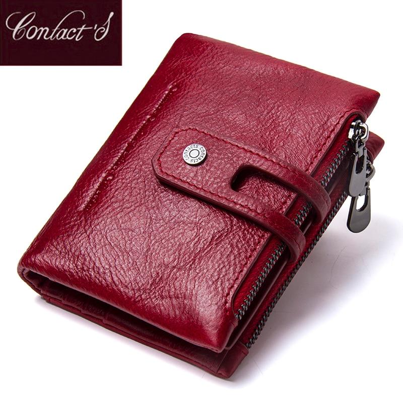 Contfel-محفظة نسائية من الجلد الطبيعي مضادة Rfid ، محفظة صغيرة بسحاب ، حامل بطاقات