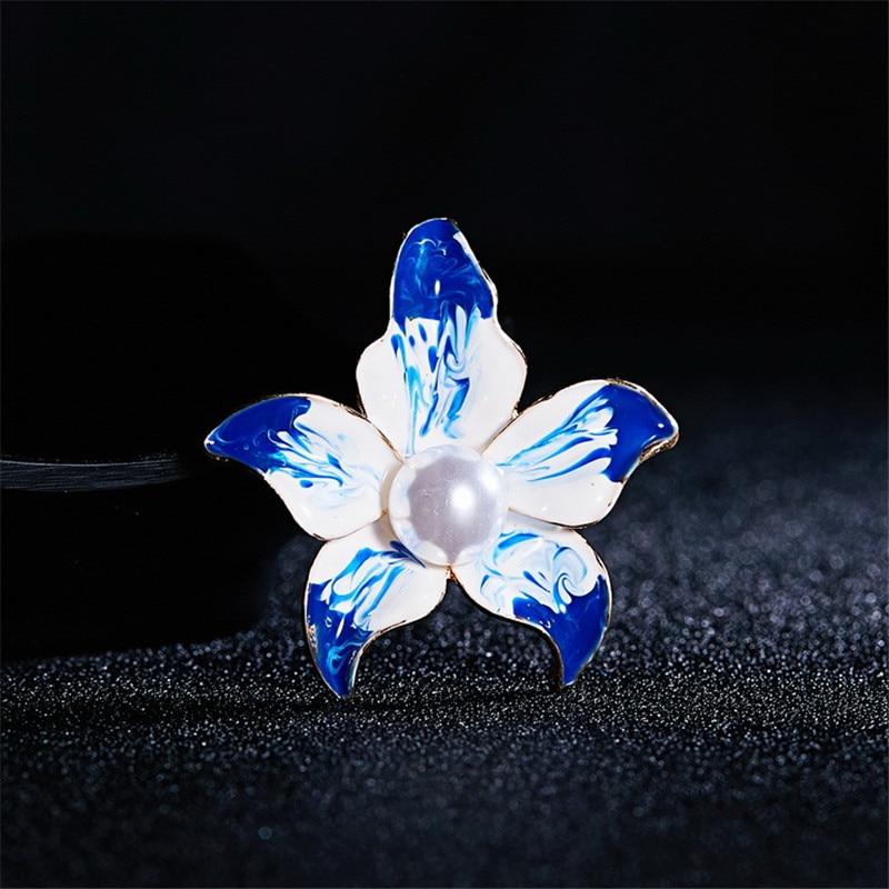 Bleu et Rose simulé perle émail lys Rose fleur broches pour femmes fête mariage Banquet fleur broches bijoux cadeaux