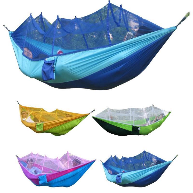 Hamaca doble portátil para adulto, hamaca de viaje al aire libre, Camping, caza, cama de Picnic, hamaca colgante con mosquitera