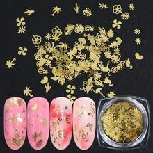 120 paillettes mélangées pour les ongles dorés, pièces, tranches fines en métal, motifs floraux, décorations pour les ongles, dessins