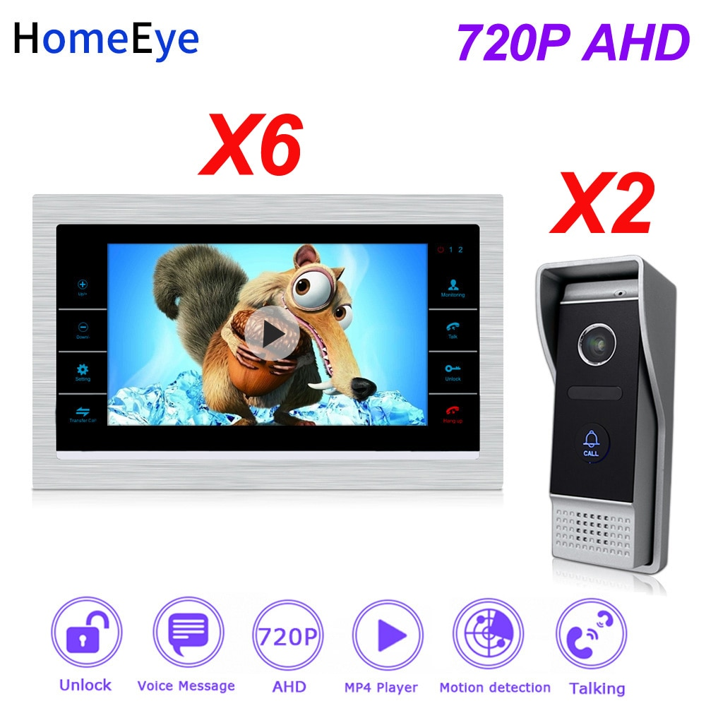 HomeEye 2 to 6 Home Access Control System 720P HD Video Door Phone Video Intercom Touch Screen Voice Message Customize Ringtone