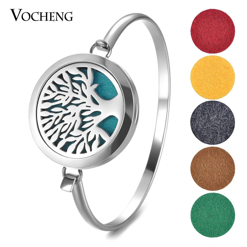 Aromatherapy Diffuser Locket Bracelet 316L Stainless Steel Tree Magnetic Bangle Randomly Send 10pcs Oil Pads as Gift VA-564