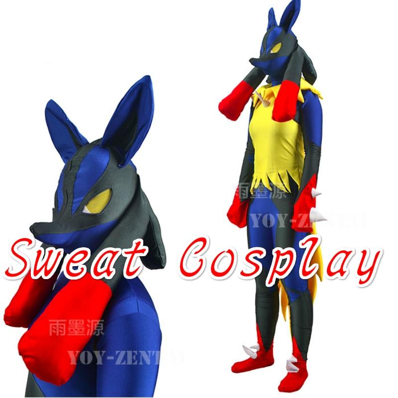High Quality Mega Lucario Costume Game Pokemon Black and Blue Spandex Zentai Halloween Cosplay Costume