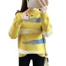 Suéter de cuello alto a rayas para mujer Jumpe nuevo Otoño Invierno ropa suelta de manga larga suéter de punto jersey Casual Mujer Tops 928