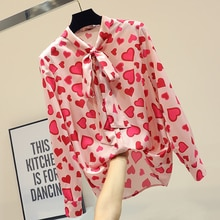 Mumuzi Chiffon Blouses Lange Mouwen Zomer Nieuwe 2020 Losse Strik Blouse Rood Hart Print Roze Shirt Tunique Femme Bluse vrouwen