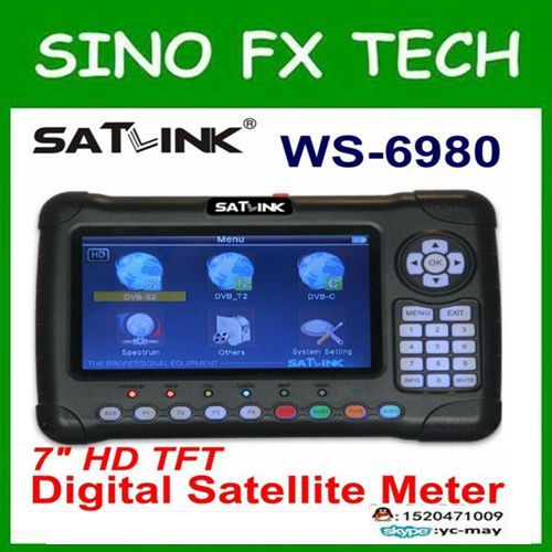 Satlink WS6980 DVB-S2 + DVB-C + DVB-T2 كومبو الأقمار الصناعية مكتشف الطيف محلل الفضائية مكتشف متر WS-6980