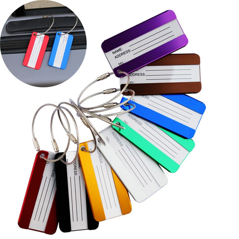 High Quality Aluminium Alloy Luggage Tags Suitcase Label Name Address ID Bag Baggage Tag Travel Accessories