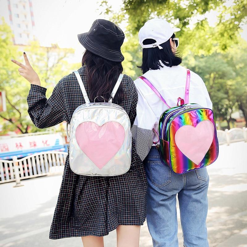 شفاف الحب حقيبة كتف قوس قزح حقيبة يد بو حقيبة يد Harajuku عادية لطيف طالب حقيبة المدرسة حقيبة المرأة