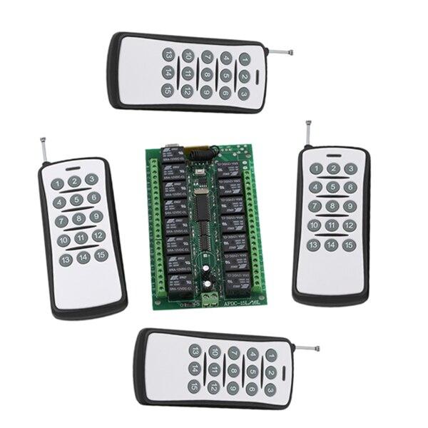 مرحل تيار مستمر 24 فولت ، لوحة دائرة كهربائية 15 قناة ، مفتاح تحكم عن بعد لاسلكي RF ، 4 أجهزة إرسال واستقبال 315/433MHZ