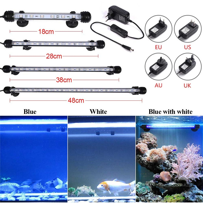 Aquarium Fish Tank 9/12/15/21 LED Light SMD5050 Blue/White 18/28/38/48CM Bar Submersible Waterproof Clip Lamp Decor EU Plug