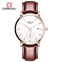 Nouveau carnaval Ultra-mince 10MM automatique mécanique montre hommes marque de luxe montres étanche erkek kol saati hommes horloge C8039-5