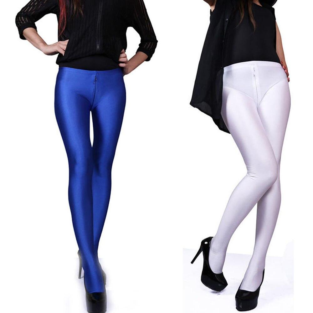 XXL Plus Size Women Bodycon Shiny Pantyhose Zipper Open Crotch Hot Sexy Leggings Clubwear Pants Fitness Legging Capris Trousers