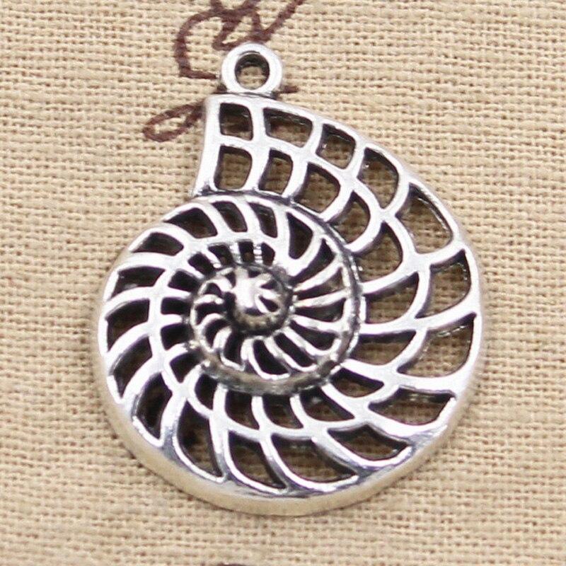 4 Uds encantos concha de caracol de océano 35x28mm colgante de bronce tibetano accesorios DIY Vintage gargantilla joyería hecha a mano