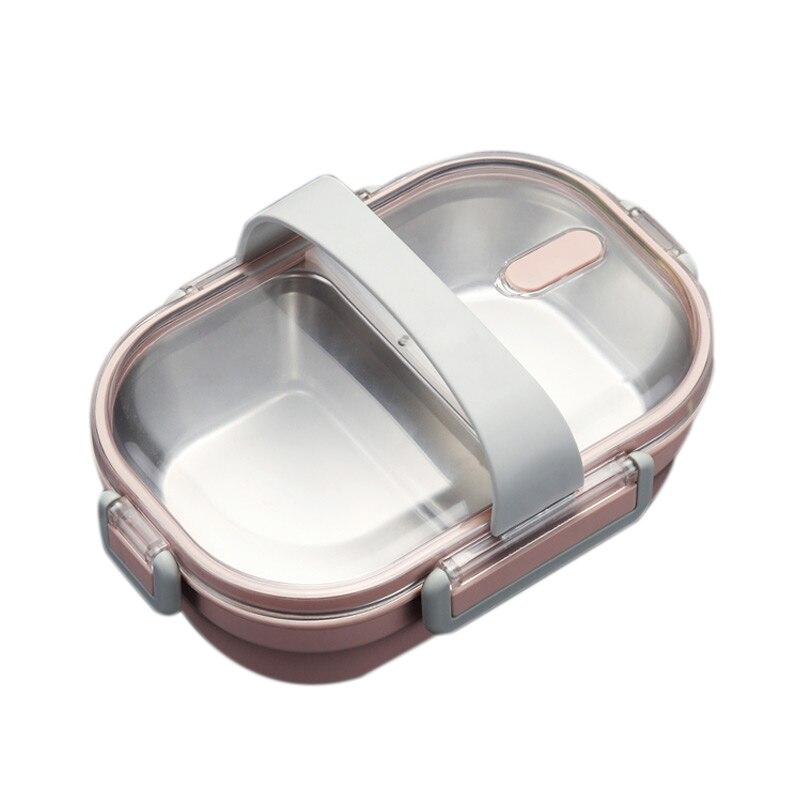 Promoción de apertura-fiambrera portátil, caja Bento de Metal escolar para niños, recipiente de comida a prueba de fugas para cocina, caja de comida de plástico + Stai