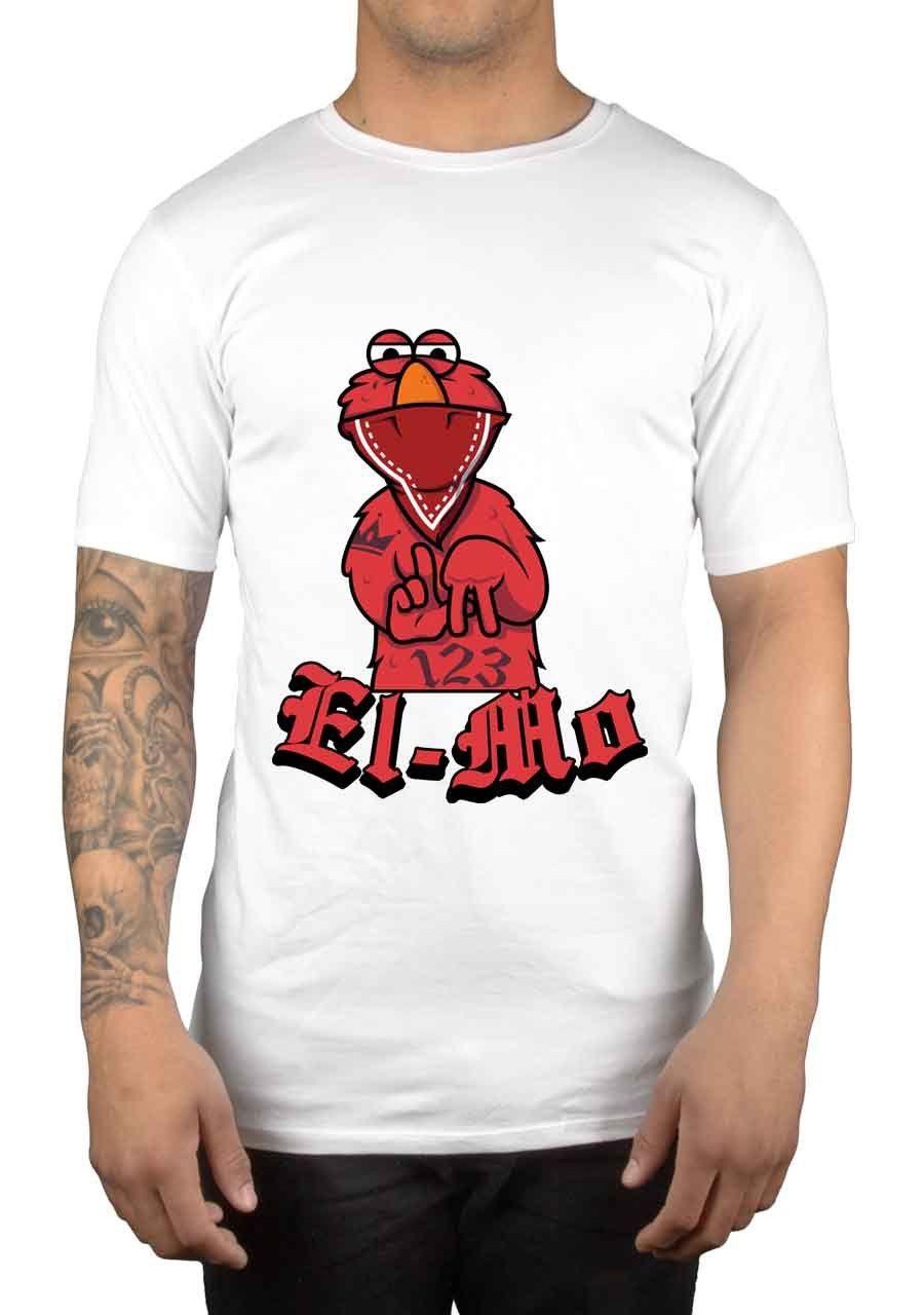 Gangster El-Mo Bandana Graphic T-Shirt Cartoon TV Swag Funny Humour Gift Idea   Cartoon t shirt men Unisex New Fashion tshirt