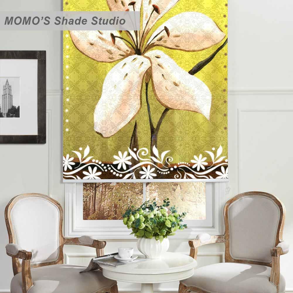 MOMO cortina de rodillo de ventana de pintura oscurecimiento personalizado persianas tela con aislamiento térmico, PRB set325-330