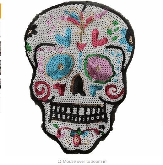 Parches de lentejuelas DD 3DSkull 26,5*19,3 CM parche para ropa DIY accesorios de moda coloridos parches de calavera