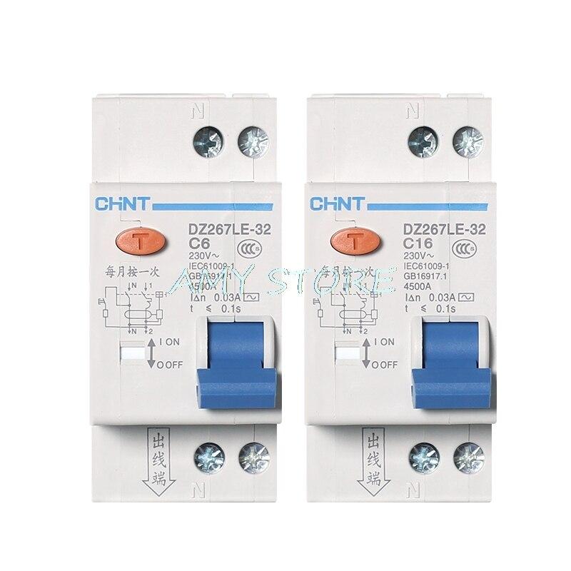 1 шт. CHNT DZ267LE-32 1P + N DPNL 6A 10A 16A 20A 25A 32A автоматический выключатель остаточного тока RCBO MCCB