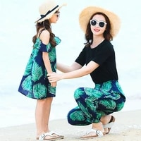 family look mother and daughter clothes black cotton kids t shirt fashion leaf casual loose trousers children girls green dress