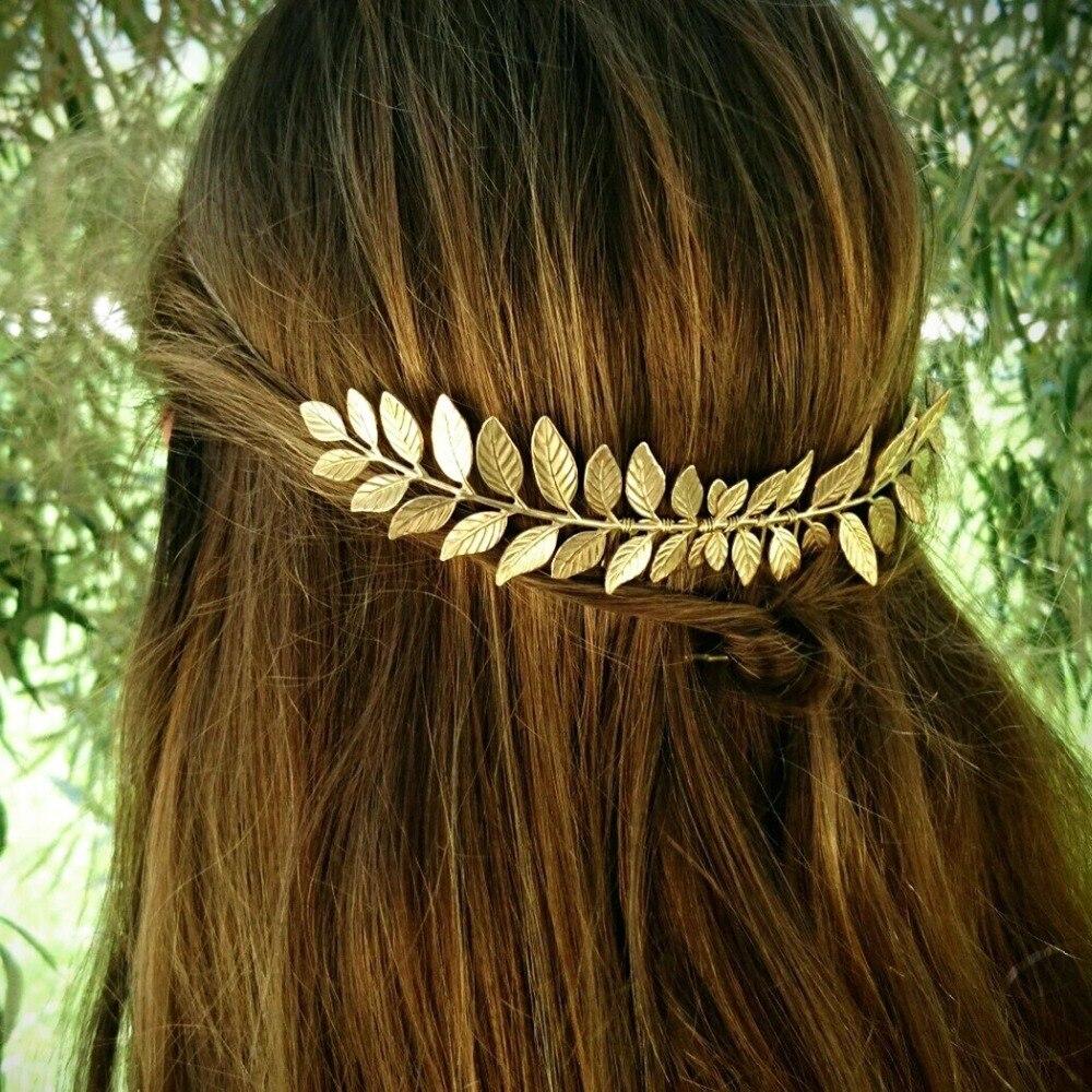 Peinetas nupciales griegas para mujer, pasador de Color dorado con hojas de Metal, horquilla con joyería, tocado para novia, accesorios para el pelo de boda francesa