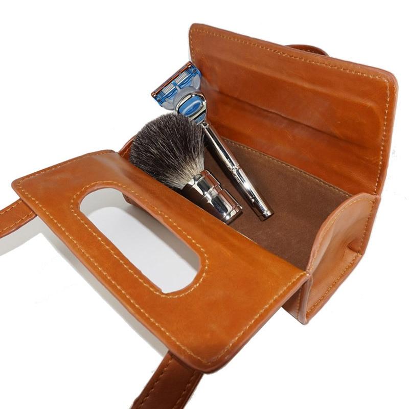 3 Colors Manual Shaving Razor Portable Shaving Brush Travel Leather Bag For 2-edge Safety Razors Box