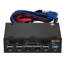 Heißer Multifuntion 5,25 zoll Media Dashboard Kartenleser USB 2.0 USB 3.0 20 pin e-SATA SATA Front Panel