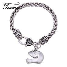 Teamer Motorcycle Helmet Charm Bracelets Men Cool Silver Color Pendant Bracelets Link Wheat Chain Fashion Jewelry Gifts BA127567