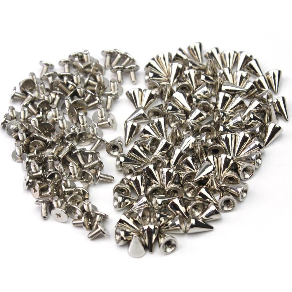 "100x 3/8 ""prata punk metal bala studs cone picos nailhead pontos rebite leathercraft diy acessórios"