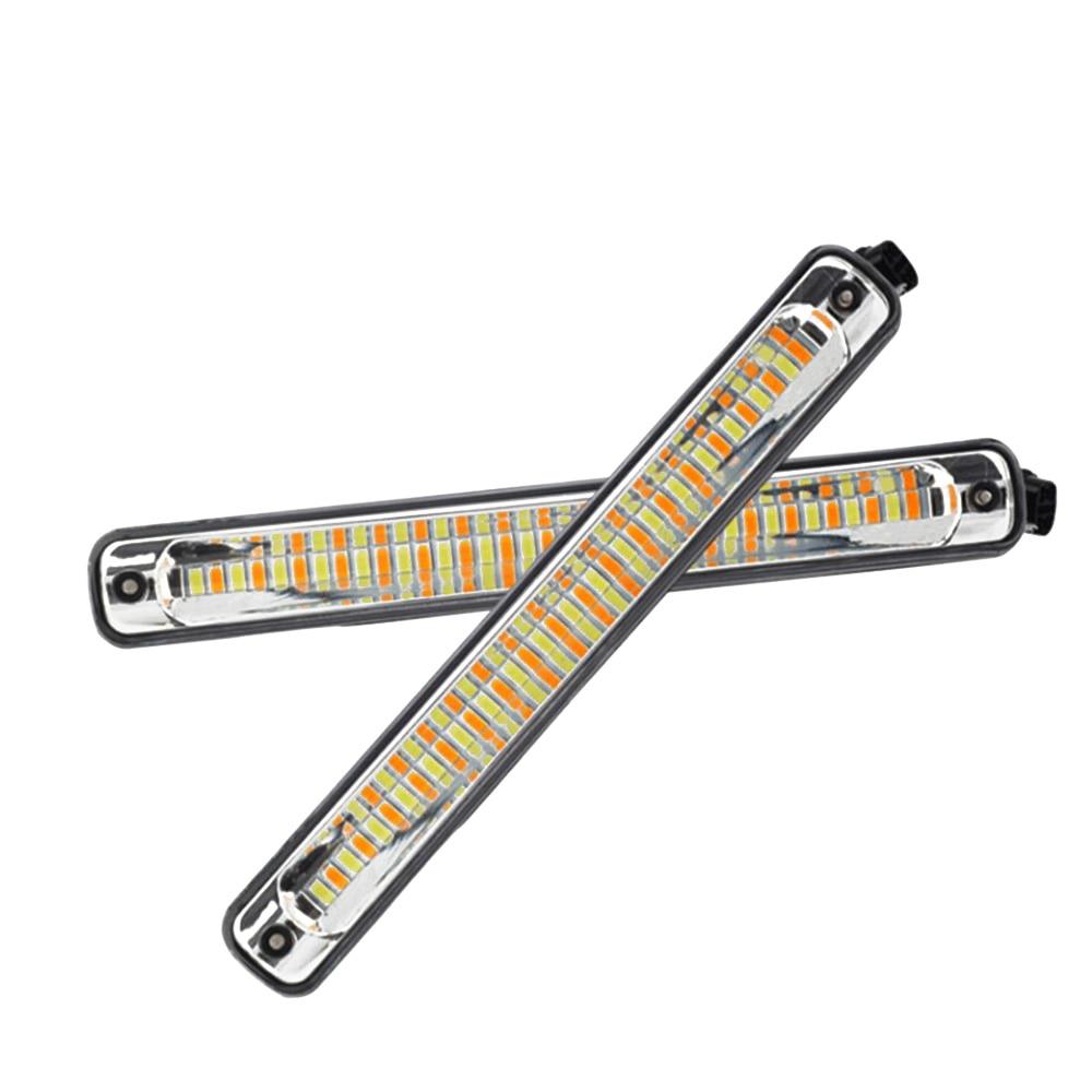 1 Pair LED DRL Cars Daytime Running Light Waterproof COB White Color Day Light + Yellow Turning Signal Lamp Fog Light